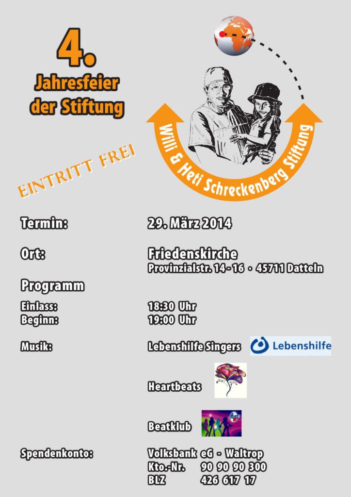Willi und Heti Schreckenberg-Stiftung lädt zu ihrer Jahresfeier am 29. März 2014 ein