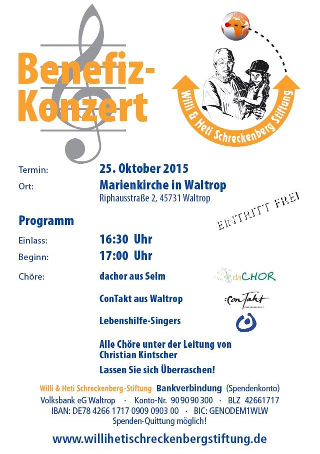 Willi und Heti Schreckenberg Stiftung lädt zum Benefizkonzert am 25. Oktober 2015 ein