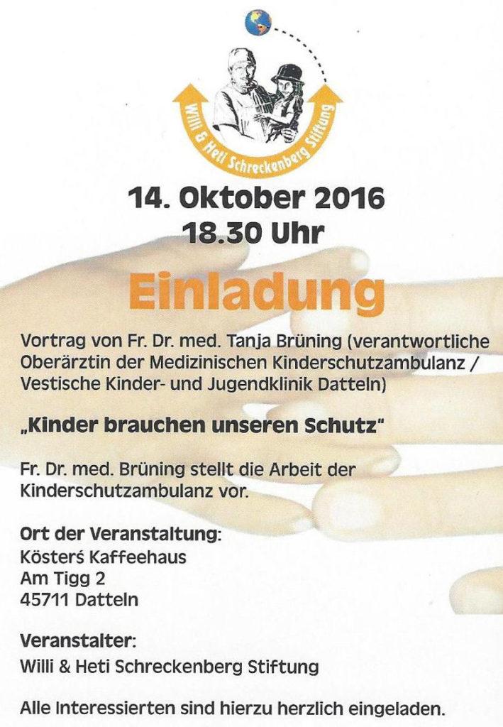 """Einladung zum Vortrag """"Kinder brauchen unseren Schutz"""" am 14. Oktober 2016"""